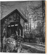 Bean Blossom Bridge Bw Wood Print by Mel Steinhauer