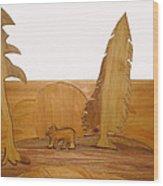 Bear Between Two Trees Wood Print