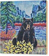 Bear By The Lake Wood Print