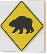 Bear Crossing Sign Wood Print