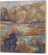 Bear In The Slough Wood Print