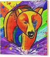 Bear Pop Art Wood Print