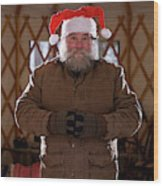 Bearded Man With Christmas Hat Wood Print