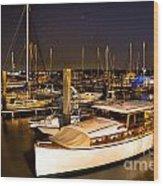 Beaufort Sc Night Harbor Wood Print by Reid Callaway