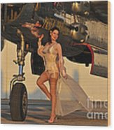 Beautiful 1940s Pin-up Girl Standing Wood Print