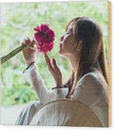Beautiful Asian Woman With Flowers - Vietnam Wood Print