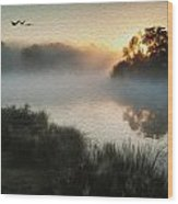 Beautiful Autumnal Landscape Image Of Birds Flying Over Misty Lake Digital Painting Wood Print