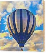 Beautiful Blue Hot Air Balloon Wood Print