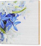 Beautiful Blue White Flower Wood Print