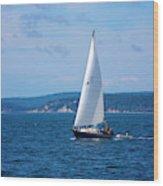 Beautiful Boat Sailing At Puget Sound Wood Print