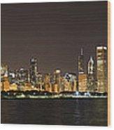 Beautiful Chicago Skyline With Fireworks Wood Print by Adam Romanowicz