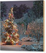 Beautiful Christmas Tree Lights Wood Print