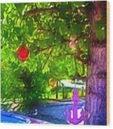 Beautiful Colored Glass Ball Hanging On Tree 1 Wood Print