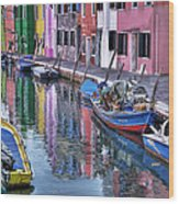 Beautiful Colors Of Burano Wood Print