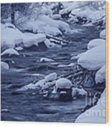Beautiful Creek In Winter In Stanley Idaho Wood Print