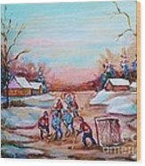 Beautiful Day For Pond Hockey Winter Landscape Painting  Wood Print