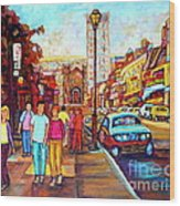 Beautiful  Downtown City Stroll  Cafe Paintings Montreal Restaurants On Crescent Street C Spandau Wood Print