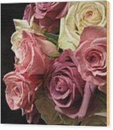 Beautiful Dramatic Roses Wood Print