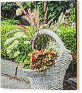 Beautiful Flowers In Basket Wood Print