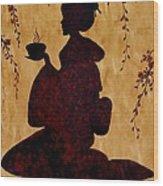 Beautiful Geisha Coffee Painting Wood Print