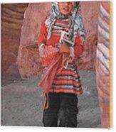 Beautiful Girl At Petra Jordan Wood Print by Eva Kaufman