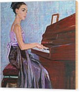 Beautiful Girl Playing Piano Wood Print
