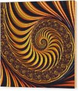 Beautiful Golden Fractal Spiral Artwork  Wood Print by Matthias Hauser