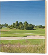 Beautiful Green Golf Course And Blue Sky Wood Print