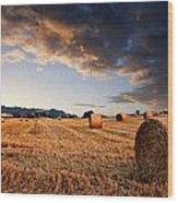 Beautiful Hay Bales Sunset Landscape Digital Paitning Wood Print