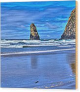 Beautiful Haystack Rock And The Needles Wood Print
