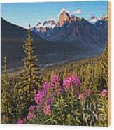 Rocky Mountains Sunset Wood Print