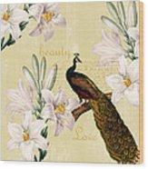 Beautiful Lilies Peacock Wood Print