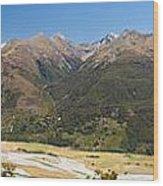 Beautiful Makarora Valley On South Island Of Nz Wood Print