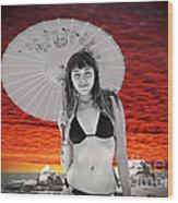 Beautiful Model And A Sunset  Wood Print