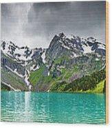 Beautiful Mointain And Lake Art Wood Print