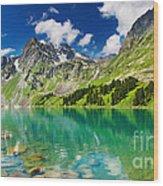 Beautiful Mointain And Lake Wood Print