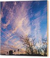 Beautiful Morning Sunrise Clouds Across The Sky Wood Print