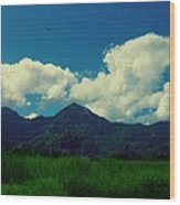 Beautiful Mountain White Could.. Blue Sky Wood Print