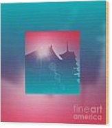 Beautiful Pagoda And Temple Silhouette At Sunrise Wood Print