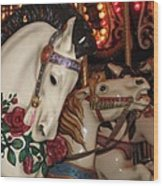 Beautiful Ponies Rwp Carousel Wood Print