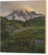 Beautiful Rainier Wildflower Meadows Wood Print