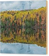 Beautiful Reflections Of A Autumn Forest In A Lake Wood Print