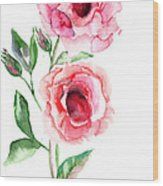 Beautiful Roses Flowers Wood Print