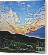 Beautiful Sky Over The Harbour Digital Painting Wood Print