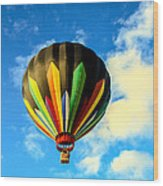 Beautiful Stripped Hot Air Balloon Wood Print