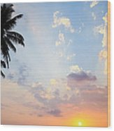Beautiful Tropical Sunset Wood Print