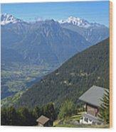 Beautiful View From Riederalp - Swiss Alps Wood Print
