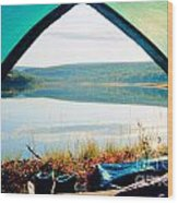 Beautiful View Of Calm Lake Looking Out Of Tent Wood Print