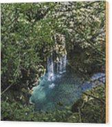 Beautiful Waterfall In The Mountains In Navarra Wood Print