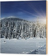 Beautiful Winter Landscape With Snow Covered Trees Wood Print by Boon Mee